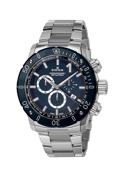 【4,000円OFFクーポン】【ノベルティプレゼント】 EDOX(エドックス) クロノオフショア1 メンズ クロノグラフ デイト表示 ブルー シルバー 10221-3BU3M-BUIN3 腕時計