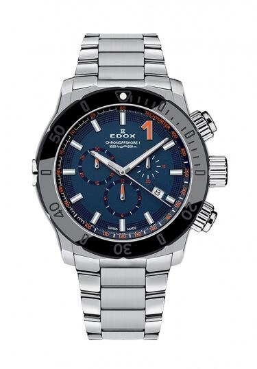 【ノベルティプレゼント】 EDOX(エドックス) クロノオフショア1 メンズ クロノグラフ デイト表示 シルバー ブルー 10221-3NM-BUINO 腕時計
