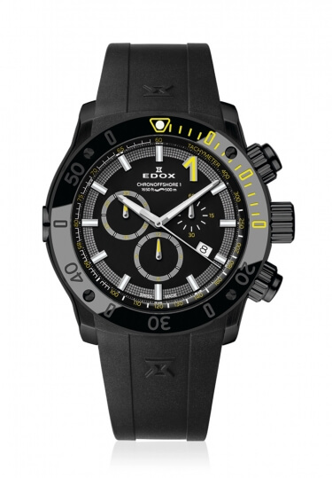 【4,000円OFFクーポン】【ノベルティプレゼント】【メーカー取寄せ】 EDOX(エドックス) クロノオフショア1 メンズ クロノグラフ デイト表示 ブラック 10221-37N-NINJ 腕時計