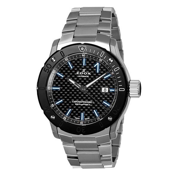 【4,000円OFFクーポン】【ノベルティプレゼント】 EDOX(エドックス) クロノオフショア1 プロフェッショナル メンズ デイト表示 自動巻き ブラック シルバー 80099-33M-NIN3 腕時計