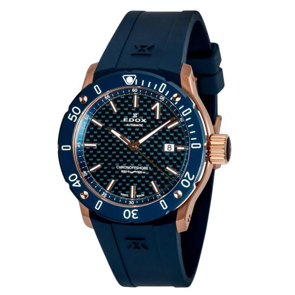 【ノベルティプレゼント】 EDOX(エドックス) クロノオフショア1 プロフェッショナル メンズ デイト表示 自動巻き ブルー 80099-37RBU3-BUIR3 腕時計