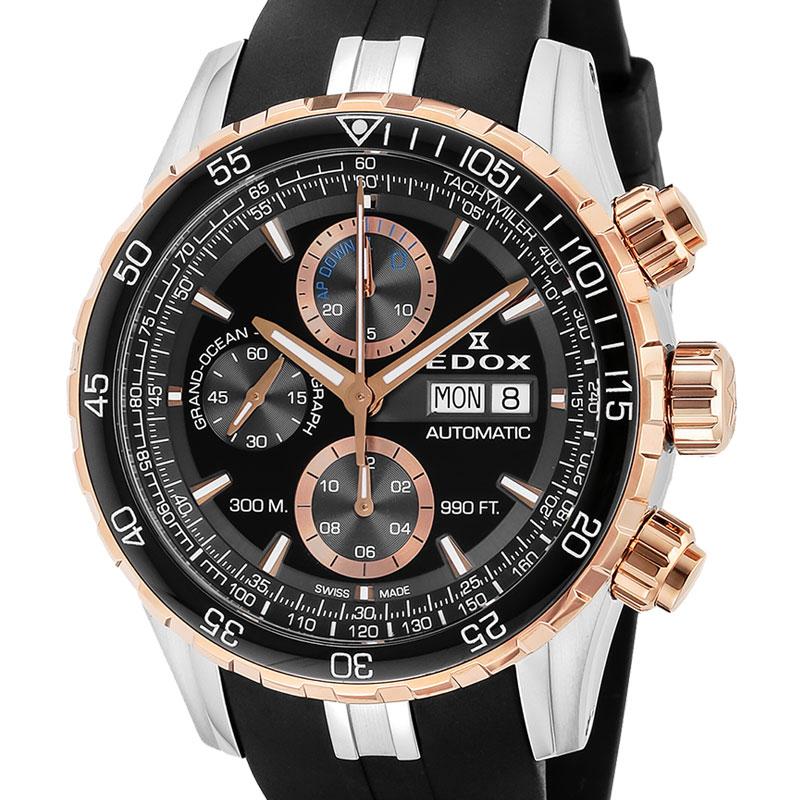【ノベルティプレゼント】 EDOX(エドックス) グランドオーシャン メンズ クロノグラフ デイデイト表示 ブラック 01123-357RCA-NBUR 腕時計