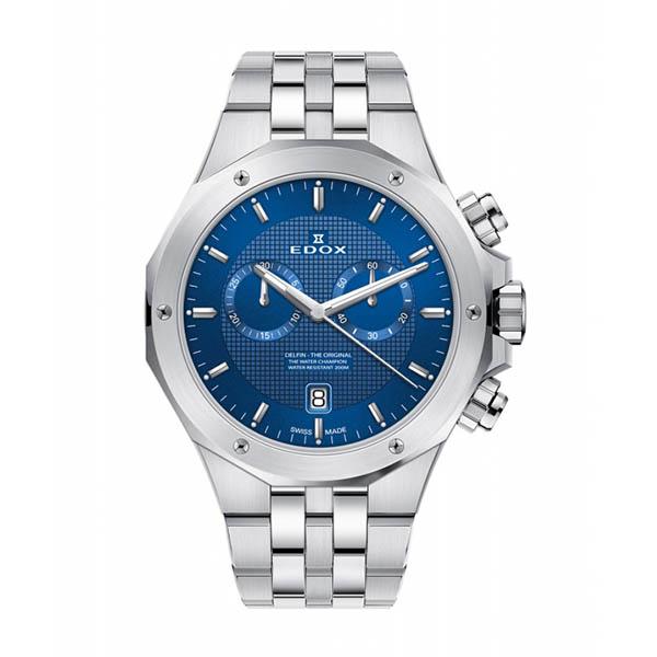 【4,000円OFFクーポン】【ノベルティプレゼント】EDOX(エドックス) デルフィン メンズ クロノグラフ デイト表示 シルバー ブルー 10110-3M-BUIN 腕時計