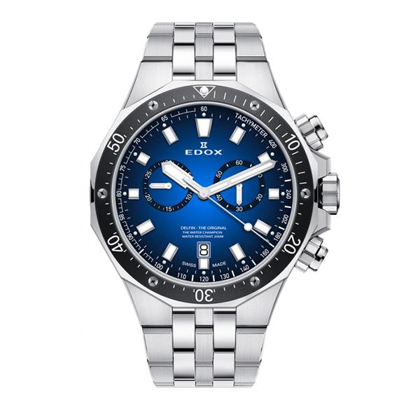 【ノベルティプレゼント】 EDOX(エドックス) デルフィン メンズ クロノグラフ デイト表示 シルバー ブルー 10109-3M-BUIN 腕時計