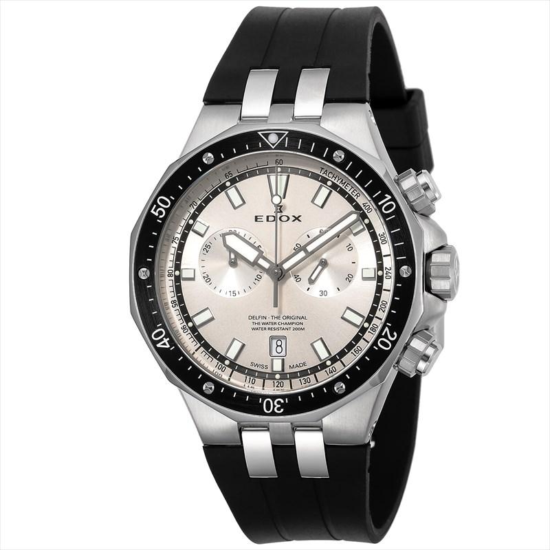 【4,000円OFFクーポン】【ノベルティプレゼント】【メーカー取寄せ】 EDOX(エドックス) デルフィン メンズ クロノグラフ デイト表示 シルバー ブラック 10109-3CA-AIN 腕時計
