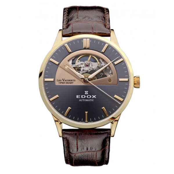 EDOX(エドックス) レ・ヴォベール オープンハートオートマチック メンズ 自動巻き ブラウン ブラック 85014-37R-GIR 腕時計