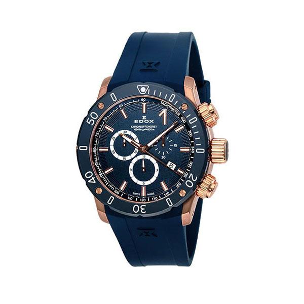 【4,000円OFFクーポン】【ノベルティプレゼント】 EDOX(エドックス) クロノオフショア1 メンズ クロノグラフ デイト表示 ブルー 10221-37RBU3-BUIR3 腕時計