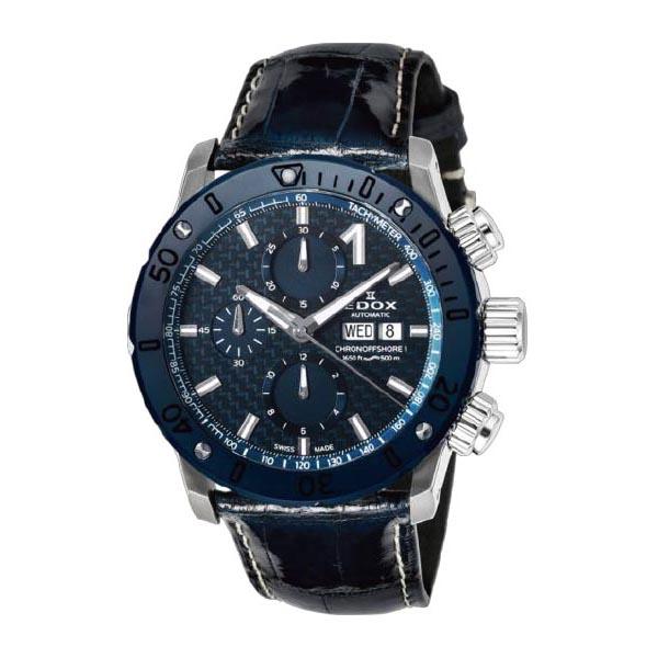 【EDOXフェア】【当店限定ノベルティ ウォッチワインダーをプレゼント】 EDOX(エドックス) クロノオフショア1クロノグラフオートマチック メンズ デイデイト表示 ブルー 01122-3BU3-BUIN3-L 腕時計