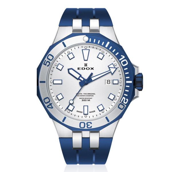 【ノベルティプレゼント】EDOX(エドックス) デルフィン メンズ デイト表示 ブルー シルバー 53015-357BUCA-AIBU 腕時計