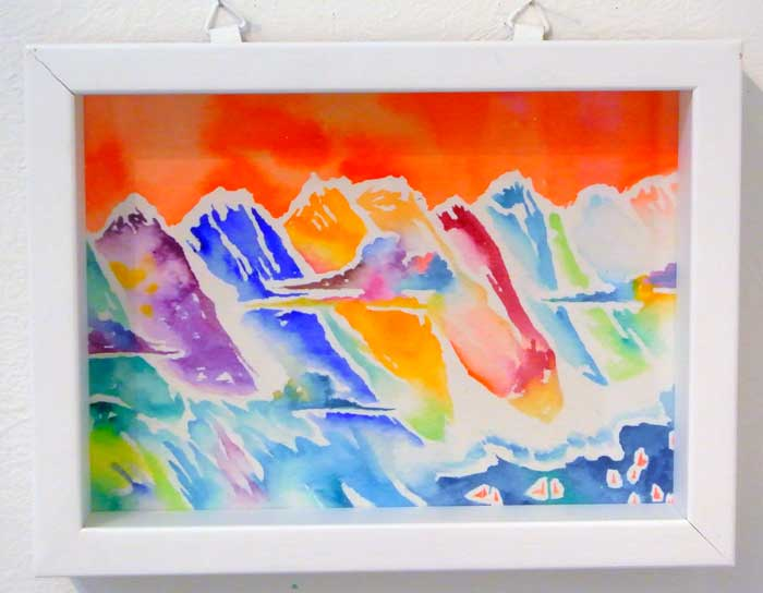立川 陽介/Yosuke Tatsukawa:赤い日の山脈【水彩画】【アート】【インテリア】