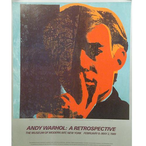 """アンディ ウォーホル:""""セルフポートレート""""ニューヨーク近代美術館1989年 回顧展覧会ポスター【アートポスター】【ポップアート】【展覧会ポスター】"""