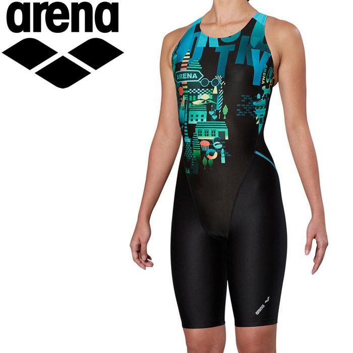 アリーナ 水泳 サークルバックスパッツ ぴったりパッド 着やストラップ フィットネス 水着 レディス FLA-9914W-GRN 返品不可