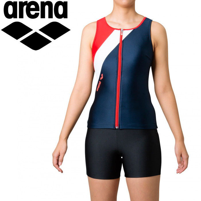 アリーナ 水泳 大きめカラースナップ付きHASSUIセパレーツ(ぴったりパッド) レディース FLA-0935W-NVRD