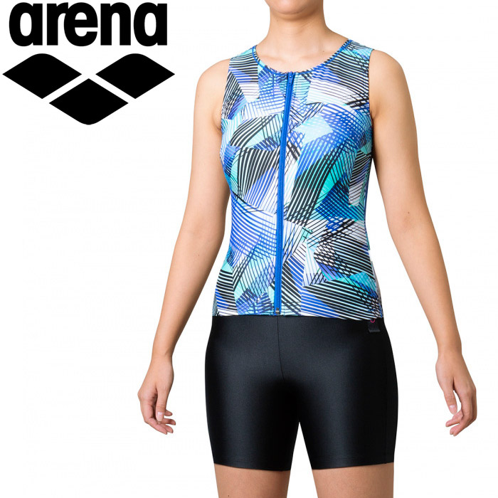 アリーナ 水泳 大きめカラースナップ付きセパレーツ(差し込みフィットパッド) レディース FLA-0944W-BLU