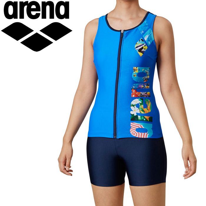 アリーナ 水泳 大きめカラースナップ付きHASSUIセパレーツ(ぴったりパッド) レディス LAR-0245W-BLU