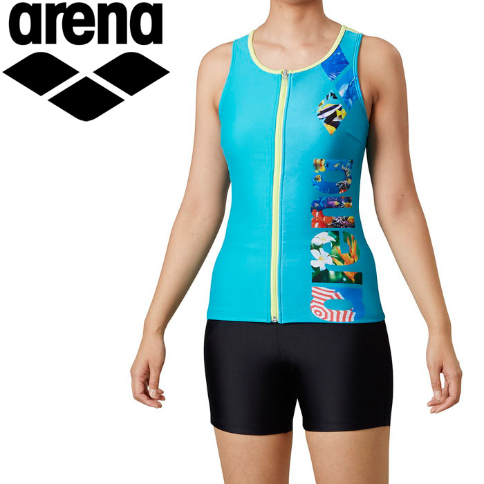 アリーナ 水泳 大きめカラースナップ付きHASSUIセパレーツ(ぴったりパッド) レディス LAR-0245W-GRN