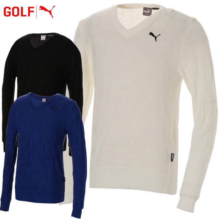 【あす楽対応】プーマ ゴルフウェア メンズ カモVネックセーター 923765 2018秋冬