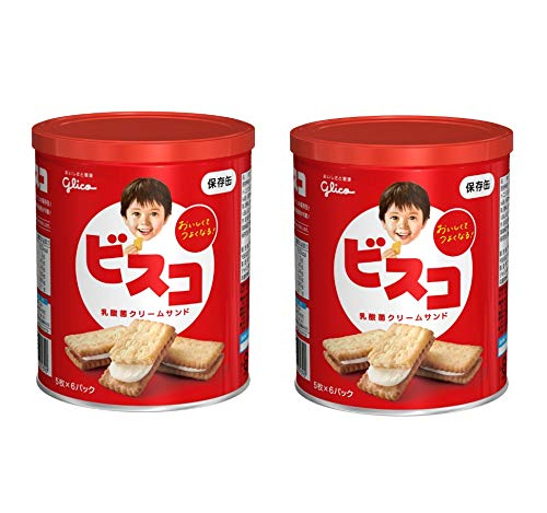 安心の定価販売 送料無料 まとめ買い 江崎グリコ ビスコ 保存缶 × 賞味期限5年 30枚 2缶