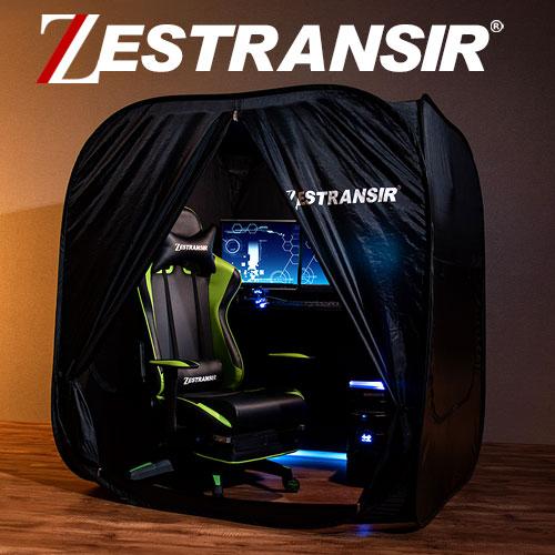 ZESTRANSIR ゼストランサー デスク用 テント 簡易テント 室内 ゲーム用 ワンタッチ ぼっちテント ブラック ETC001537