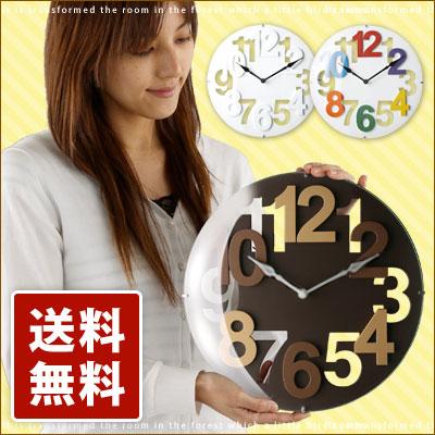 壁掛け時計 ウォールクロック 壁掛け 掛け時計 ブラウン ホワイト 茶 白 ポップ カラフル インテリア CALTE round カルテラウンド CL3265シンプル 送料無料 母の日 おしゃれ