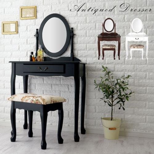 【2,480円引き】 一面鏡 鏡台 デスク 椅子 アンティーク調 全3色 LCBUT0570