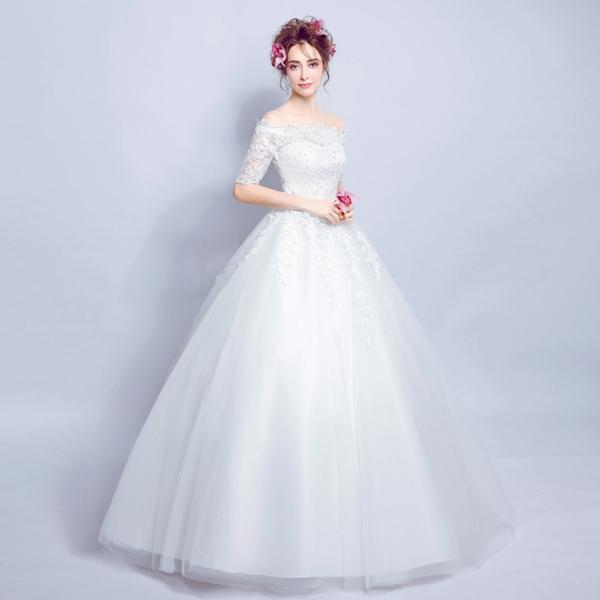【即納】ウェディングドレス  Aラインのウェディングドレス レース オフショルダー ウエディングドレス 刺繍のビスチェとスカート 二次会 ウェディングドレス パーティードレス・結婚式・二次会 ドレス 嬢ドレス