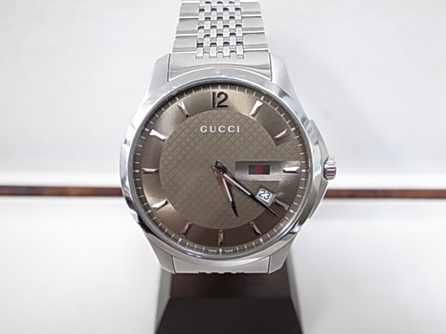 【GUCCI】グッチ YA126310 Gタイムレス クォーツ ステンレススチール ブロンズダイヤル メンズ時計 腕時計 【中古】