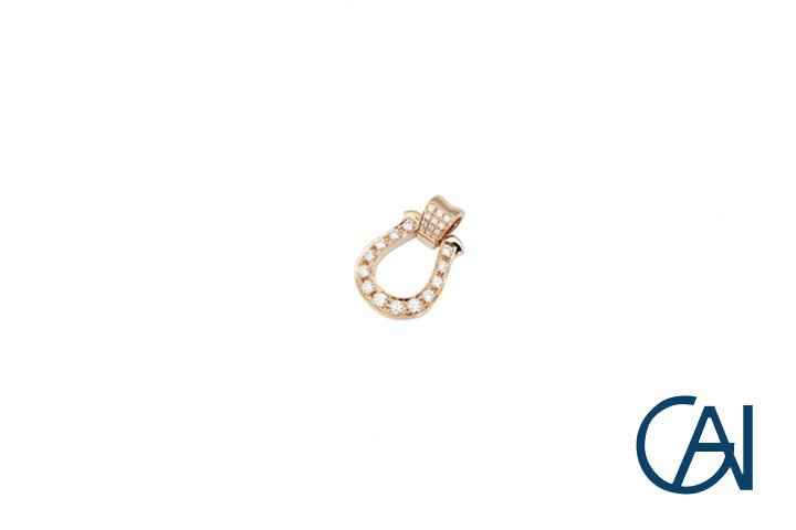 大注目 ピンクゴールド 現金特価 ペンダント トップ ダイヤモンド ユニセックス 新品 馬蹄ペンダント K18PG Mサイズ D0.35ct