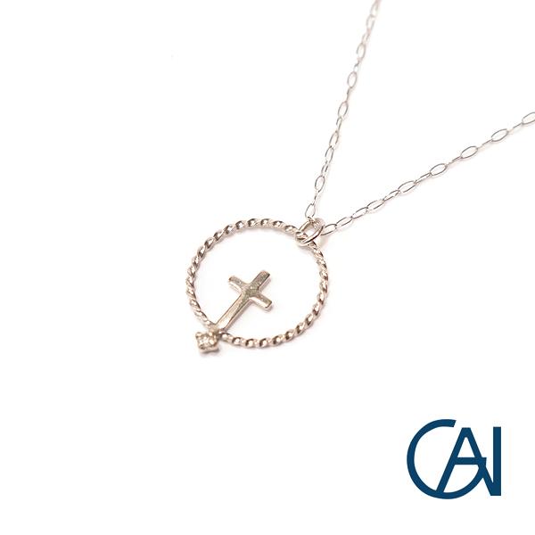 GAI ~Select Jewelry~K18WG クロスダイヤモンド ペンダント/ネックレス【展示新品】