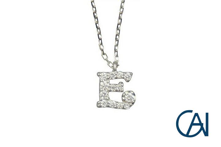 GAI ~Select Jewelry~K18WG D0.09ctイニシャルネックレス【E】【未使用品】