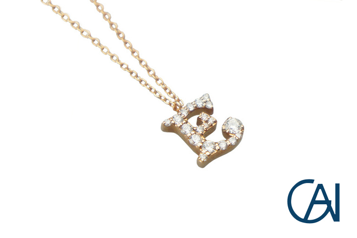 GAI ~Select Jewelry~K18PG D0.28ct イニシャルネックレス【E】【未使用品】
