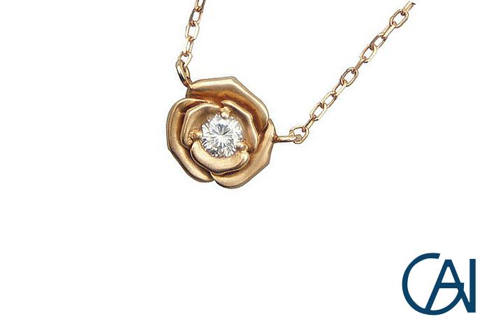 GAI~Select Jewelry~K18PG ピンクゴールド ローズ ダイヤモンド ネックレス/ペンダント D1.0ct【展示新品】
