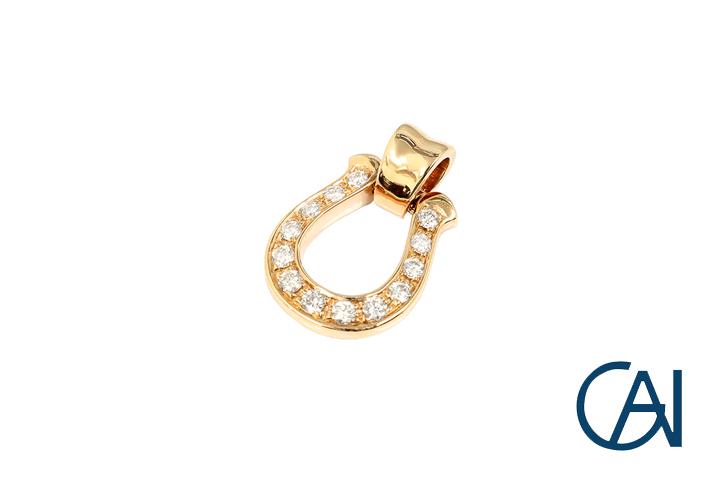 GAI~Select Jewelry~K18PG ホースシュー ダイヤモンドペンダント トップ D0.16ct Sサイズ【新品】