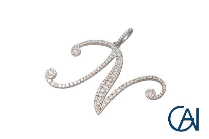 GAI~Select Jewelry~K18WG イニシャル(N)ダイヤモンドペンダントトップ D0.84ct【未使用品】