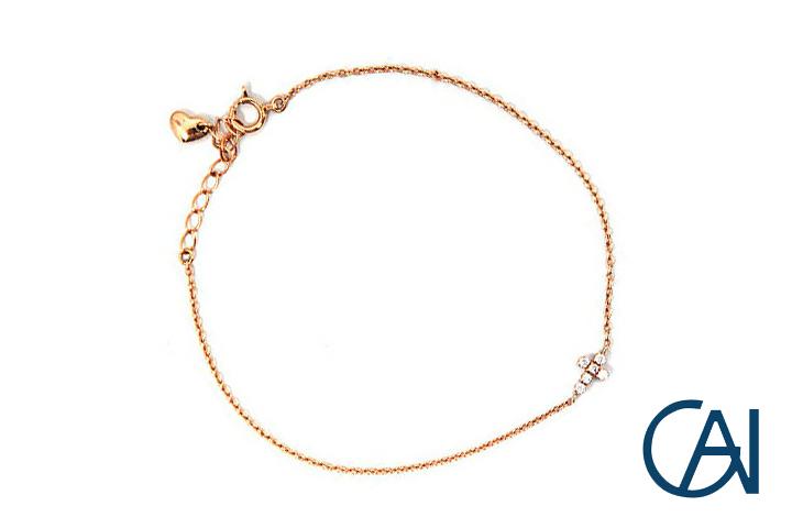GAI ~Select Jewelry~K18PG リバーシブルクロスダイヤモンド ブレスレットD0.05ct R0.05ct【展示新品】