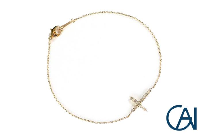 GAI ~Select Jewelry~K18YG クロスダイヤブレスレットD0.30ct【展示新品】