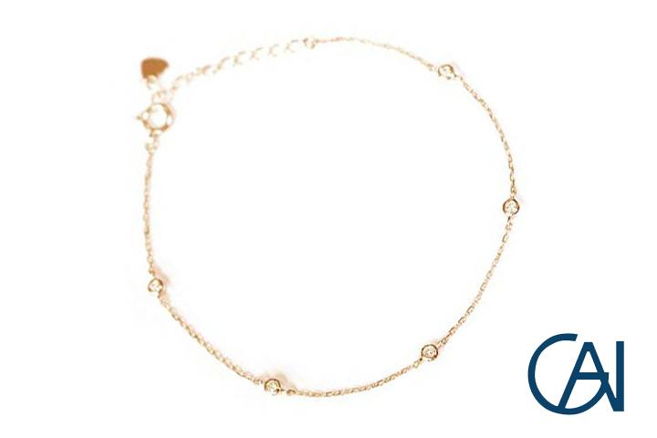 GAI ~Select Jewelry~K18PG 5粒ダイヤモンドブレスレットD0.10ct【展示新品】