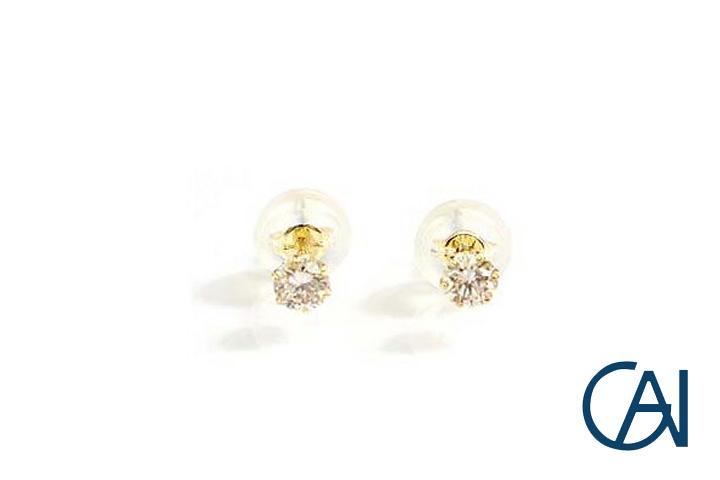 GAI ~Select Jewelry~K18YG ダイヤモンド1粒ピアスD0.20ct【展示新品】