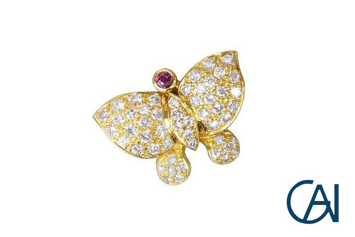 GAI~Select Jewelry~K18YGデザインファッションバタフライダイヤモンドブローチ【展示新品】