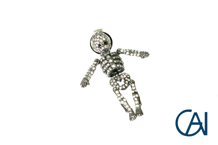 GAI~Select Jewelry~K18WGデザインファッションガイコツダイヤモンドブローチD0.66ct【展示新品】