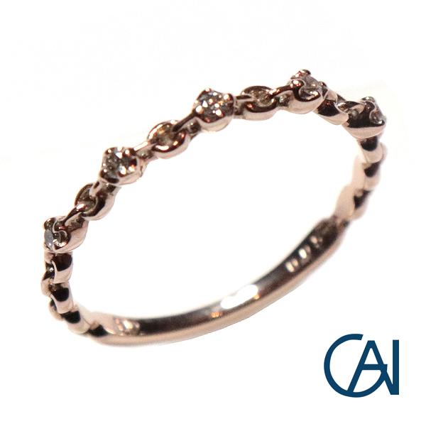 GAI ~Petit Jewelry~K10PG ダイヤモンド チェーンデザイン リング D0.05ct【展示新品】