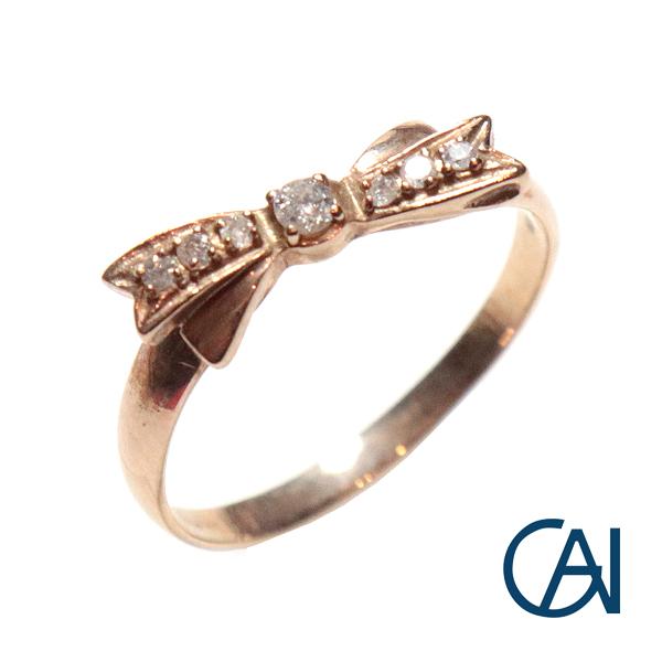GAI ~Petit Jewelry~K10YG D0.07ct リボンモチーフ リング【展示新品】