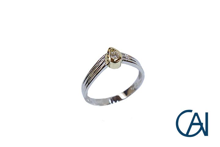 GAI ~Petit Jewelry~K18WG PT900 D0.1ct ダイヤモンド リング【展示品】【あす楽】