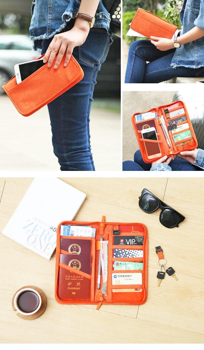 多機能 パスポートケース カードケース キーケース ポーチ スマホ 財布 小銭入れ トラベル用品 ピンク ネイビー オレンジ グレー