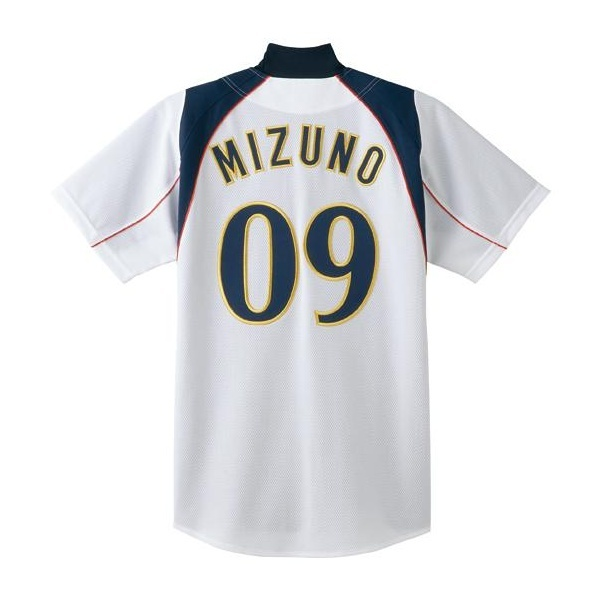 ◆◆ <ミズノ> MIZUNO シャツ/オープンタイプ(2009世界モデル)[ジュニア] 52MJ083 (01:ホワイト×ネイビー×レッドパイピング(ホームモデル))