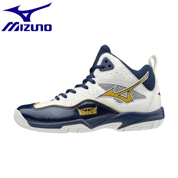 ◆◆ <ミズノ> MIZUNO ルーキーBB5(バスケットボール)[ジュニア] W1GC1970 (52:ホワイト×ゴールド×ネイビー)