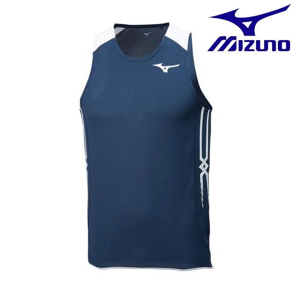 ◆◆送料無料 メール便発送 <ミズノ> MIZUNO レーシングシャツ(陸上競技)[メンズ] U2MA8050 (14:ドレスネイビー×ホワイト)