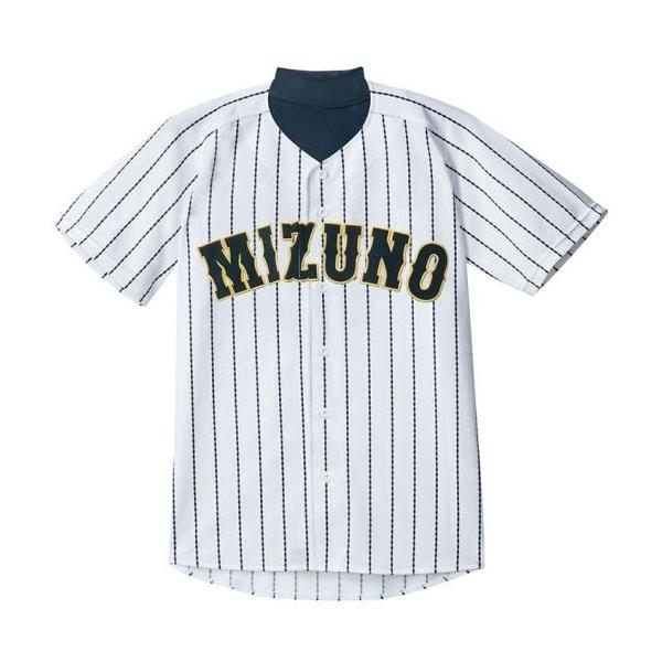 ◆◆ <ミズノ> MIZUNO シャツ/オープンタイプ(2014世界モデル)[メンズ] 12JC4F20 (01:ホワイト×ネイビー・DSストライプ(ホームモデル)) 野球・ソフトボール