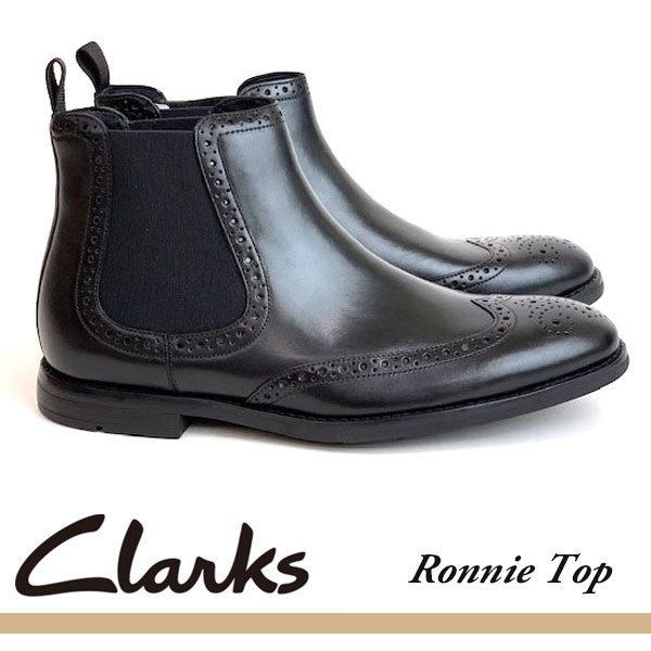 即納可☆ 【Clarks】クラークス RONNIE TOP BLACK LEATHER メンズ 本革靴 ビジネスシューズ ブーツ 26144928