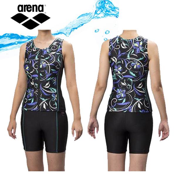 即納可★ 【ARENA】アリーナ 大きめカラースナップ付き セパレーツ レディース フィットネス水着 FLA8844W